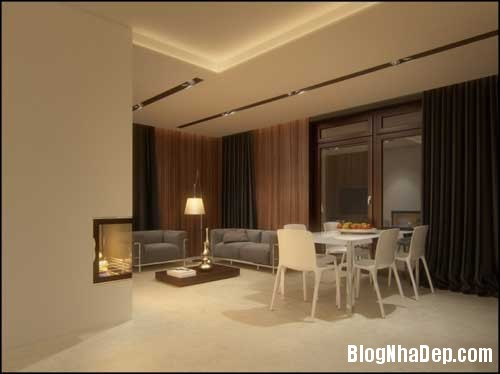 phong khach phong bep 4 Kết hợp không gian phòng khách và phòng ăn