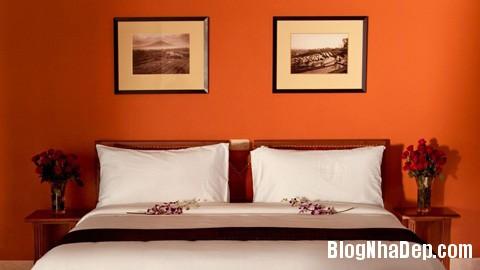 phong ngu mau cam11 Sưởi ấm căn phòng ngủ với gam màu nóng