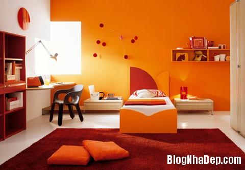 phong ngu mau cam12 Sưởi ấm căn phòng ngủ với gam màu nóng
