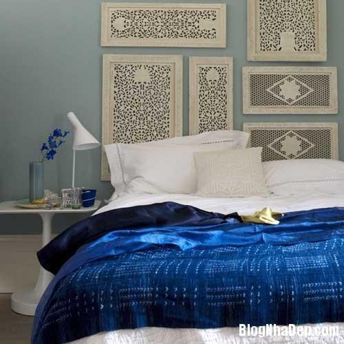 phong ngu mau xanh 5  Phòng ngủ dịu dàng với tông màu xanh