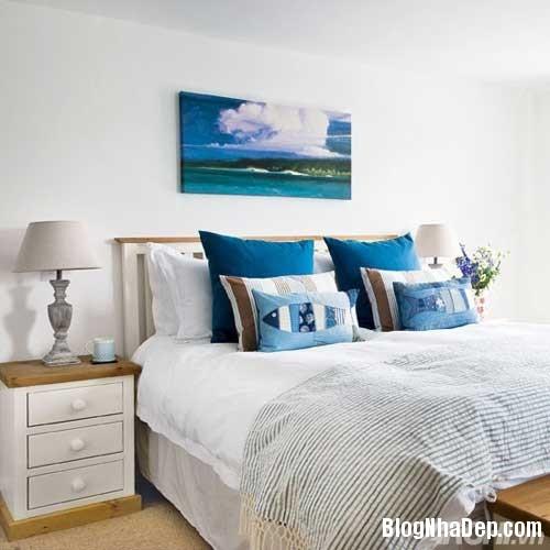 phong ngu mau xanh 7  Phòng ngủ dịu dàng với tông màu xanh