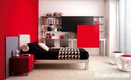 phong ngu1 Sử dụng màu đỏ để làm điểm nhấn cho phòng ngủ