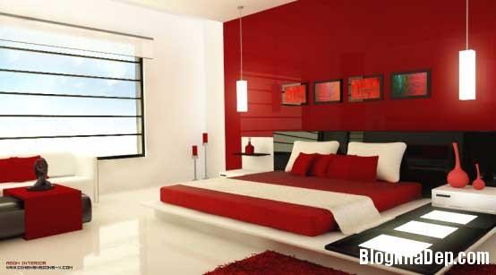 phong ngu11 Sử dụng màu đỏ để làm điểm nhấn cho phòng ngủ