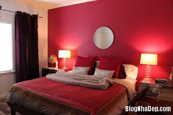 phong ngu14 Sử dụng màu đỏ để làm điểm nhấn cho phòng ngủ
