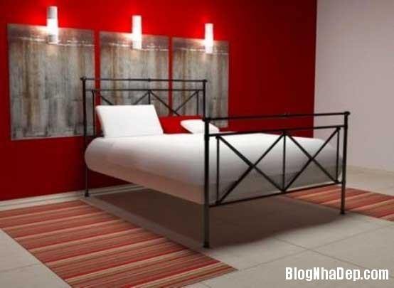 phong ngu3 Sử dụng màu đỏ để làm điểm nhấn cho phòng ngủ