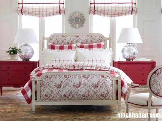 phong ngu4 Sử dụng màu đỏ để làm điểm nhấn cho phòng ngủ