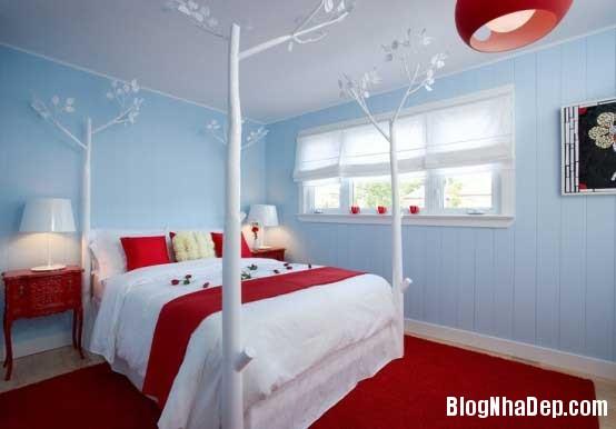 phong ngu5 Sử dụng màu đỏ để làm điểm nhấn cho phòng ngủ