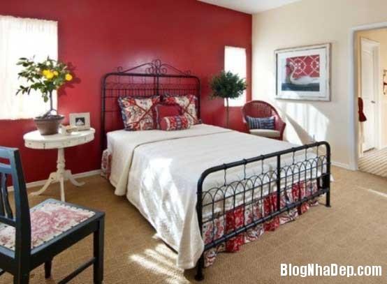 phong ngu7 Sử dụng màu đỏ để làm điểm nhấn cho phòng ngủ