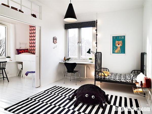 striped room 1 Trang trí nội thất nhà bằng họa tiết kẻ sọc