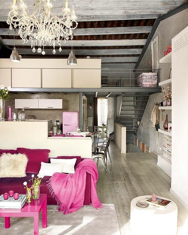 Sac hong trong phong cach Vintage 1 Ngôi nhà cổ điển với nội thất màu hồng