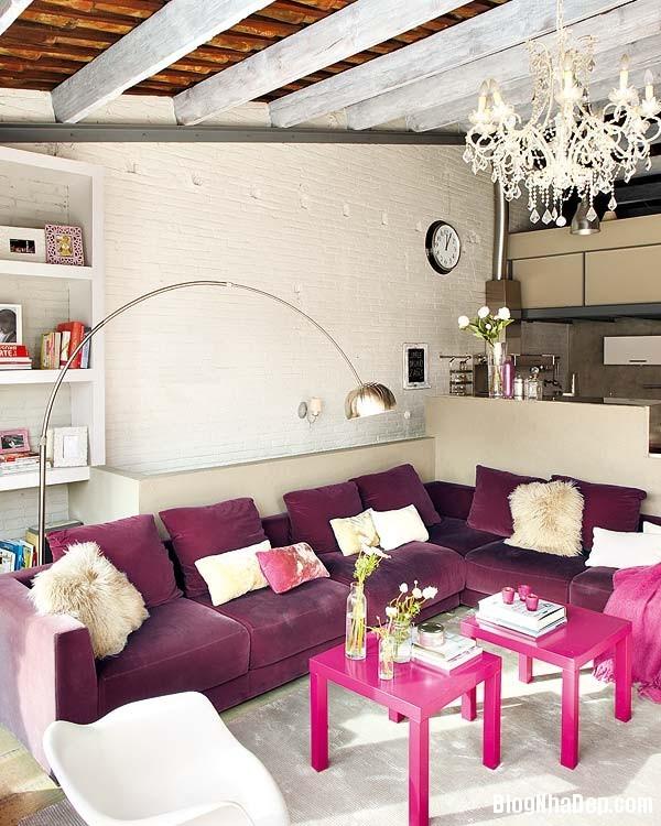 Sac hong trong phong cach Vintage 2 Ngôi nhà cổ điển với nội thất màu hồng