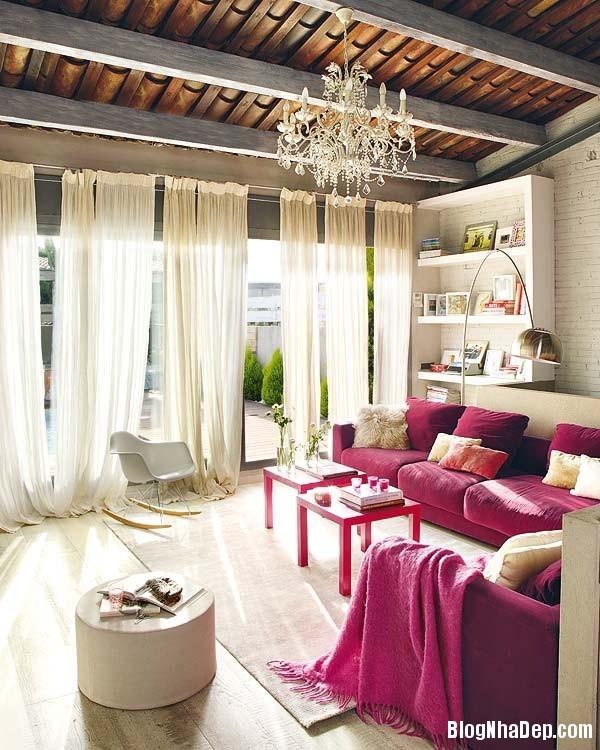 Sac hong trong phong cach Vintage 3 Ngôi nhà cổ điển với nội thất màu hồng
