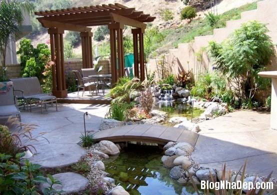 file14 Bài trí ao nước róc rách cho khu vườn