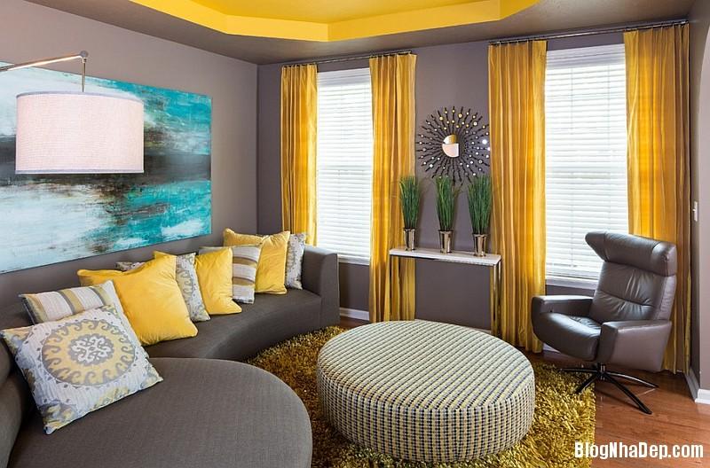 file18 Kết hợp màu xám và vàng trong trang trí nội thất phòng khách