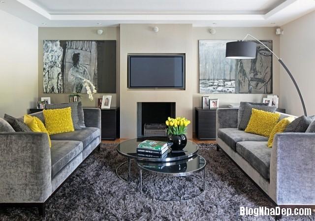 file 00316 Kết hợp màu xám và vàng trong trang trí nội thất phòng khách
