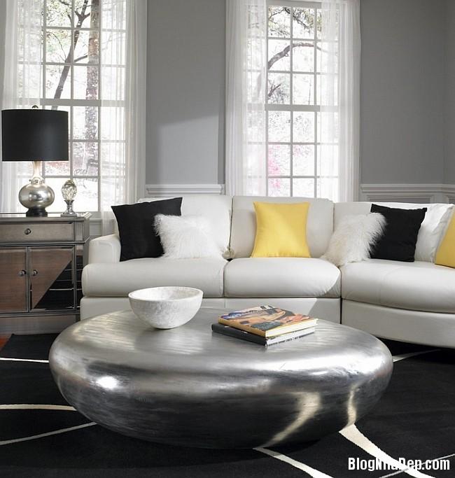 file 00415 Kết hợp màu xám và vàng trong trang trí nội thất phòng khách