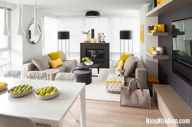 file 0177 Kết hợp màu xám và vàng trong trang trí nội thất phòng khách