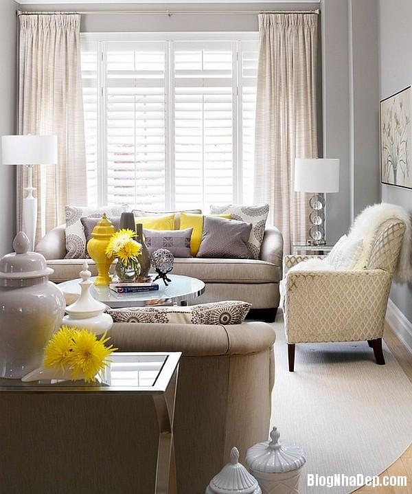 file 0185 Kết hợp màu xám và vàng trong trang trí nội thất phòng khách