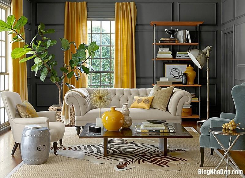 file 0211 Kết hợp màu xám và vàng trong trang trí nội thất phòng khách