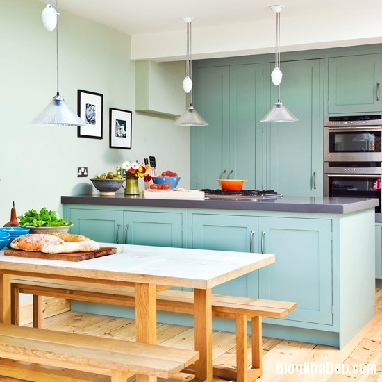 goc bep dep hon voi sac xanh tuoi mat Làm mát không gian nhà bếp với sắc xanh