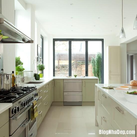 goc bep dep hon voi sac xanh tuoi mat1 Làm mát không gian nhà bếp với sắc xanh