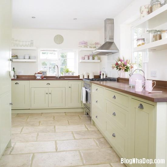 goc bep dep hon voi sac xanh tuoi mat2 Làm mát không gian nhà bếp với sắc xanh