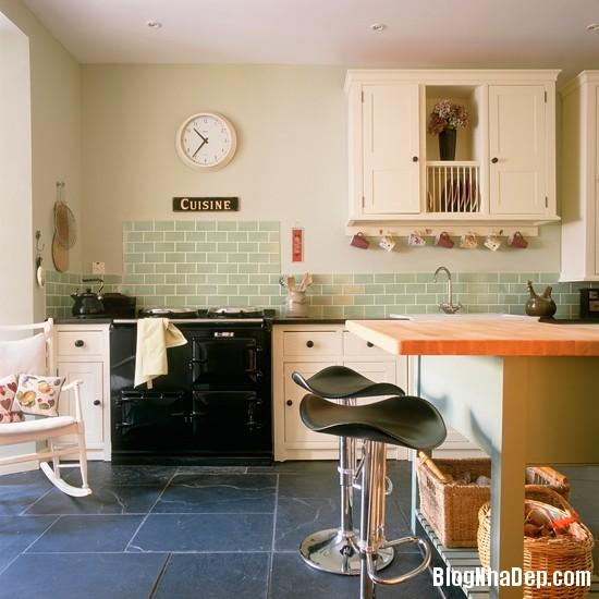 goc bep dep hon voi sac xanh tuoi mat4 Làm mát không gian nhà bếp với sắc xanh