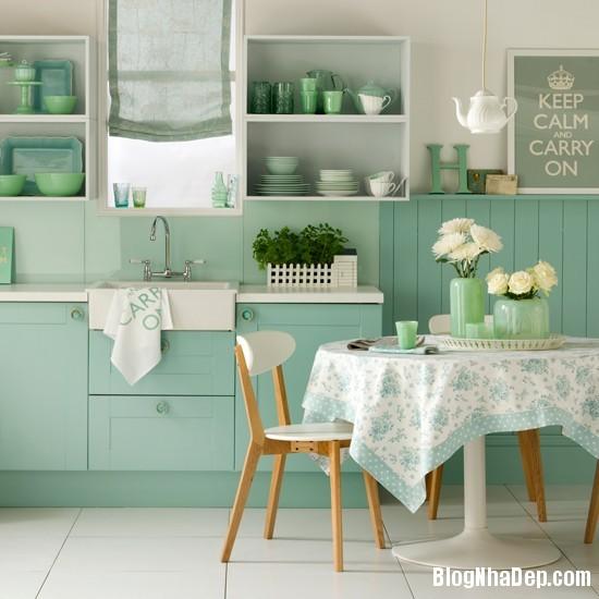 goc bep dep hon voi sac xanh tuoi mat6 Làm mát không gian nhà bếp với sắc xanh