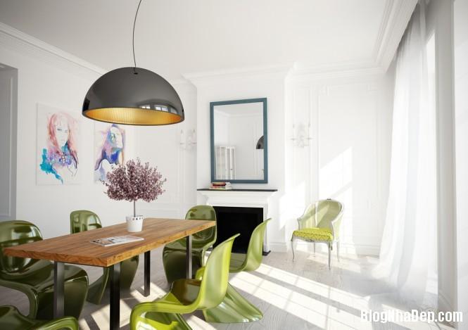 httpdepcomvnuploadedphuongnth20120831greenwhitediningroom665 Mẫu thiết kế đẹp cho không gian ăn uống