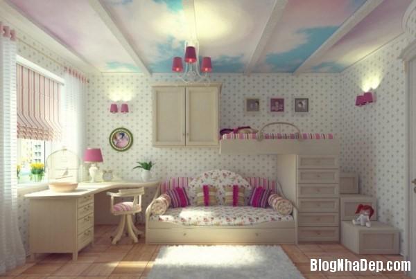 phong ngu be gai cs 071 Những mẫu phòng ngủ dễ thương cho bé gái