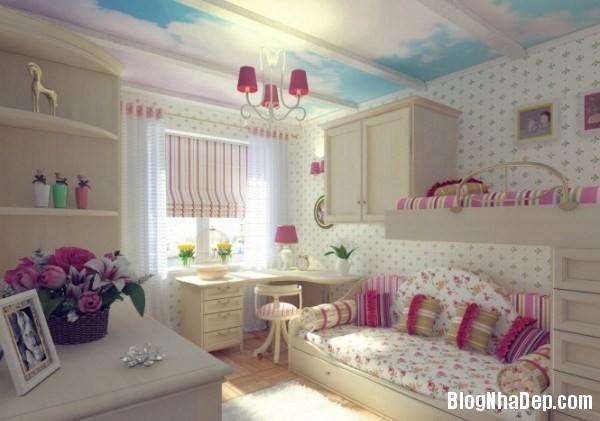 phong ngu be gai cs 08 Những mẫu phòng ngủ dễ thương cho bé gái