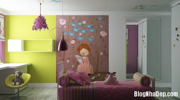 phong ngu be gai cs 09 Những mẫu phòng ngủ dễ thương cho bé gái