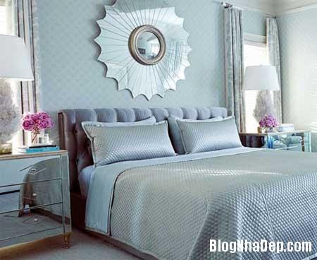 phong ngu nen na sac xanh 1 Nội thất phòng ngủ nền nã với sắc xanh
