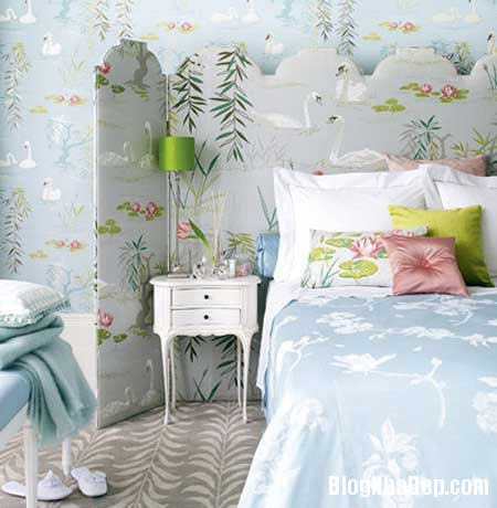 phong ngu nen na sac xanh 2 Nội thất phòng ngủ nền nã với sắc xanh