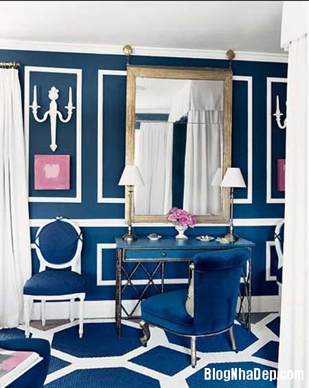 phong ngu nen na sac xanh 5 Nội thất phòng ngủ nền nã với sắc xanh