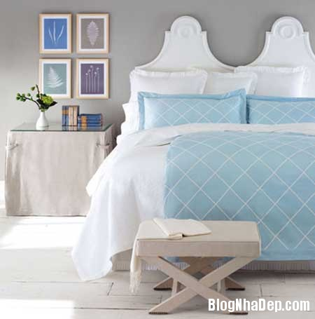 phong ngu nen na sac xanh 6 Nội thất phòng ngủ nền nã với sắc xanh