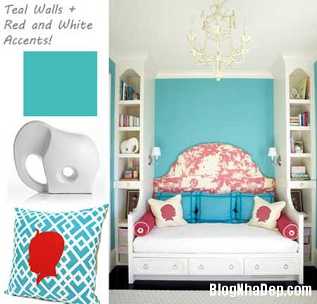 phong ngu nen na sac xanh 7 Nội thất phòng ngủ nền nã với sắc xanh