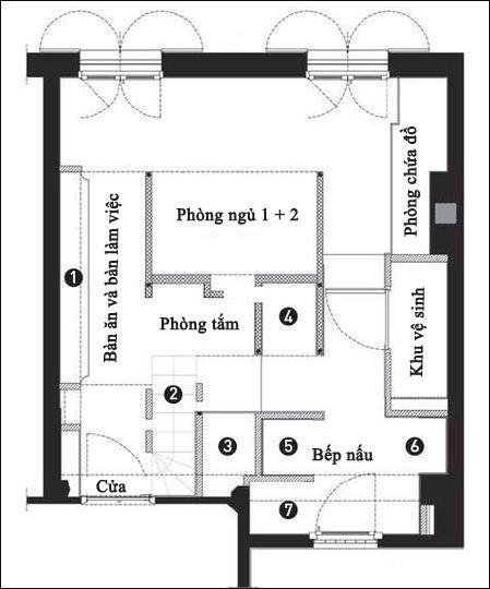 studio mais pas trop le plan 4602476 f86e2 Phân chia không gian cho căn hộ 27m2