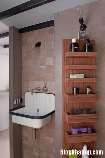 studio mais pas trop un mini cabinet de toilette en terre naturelle et beton cire 4602488 bed0b Phân chia không gian cho căn hộ 27m2