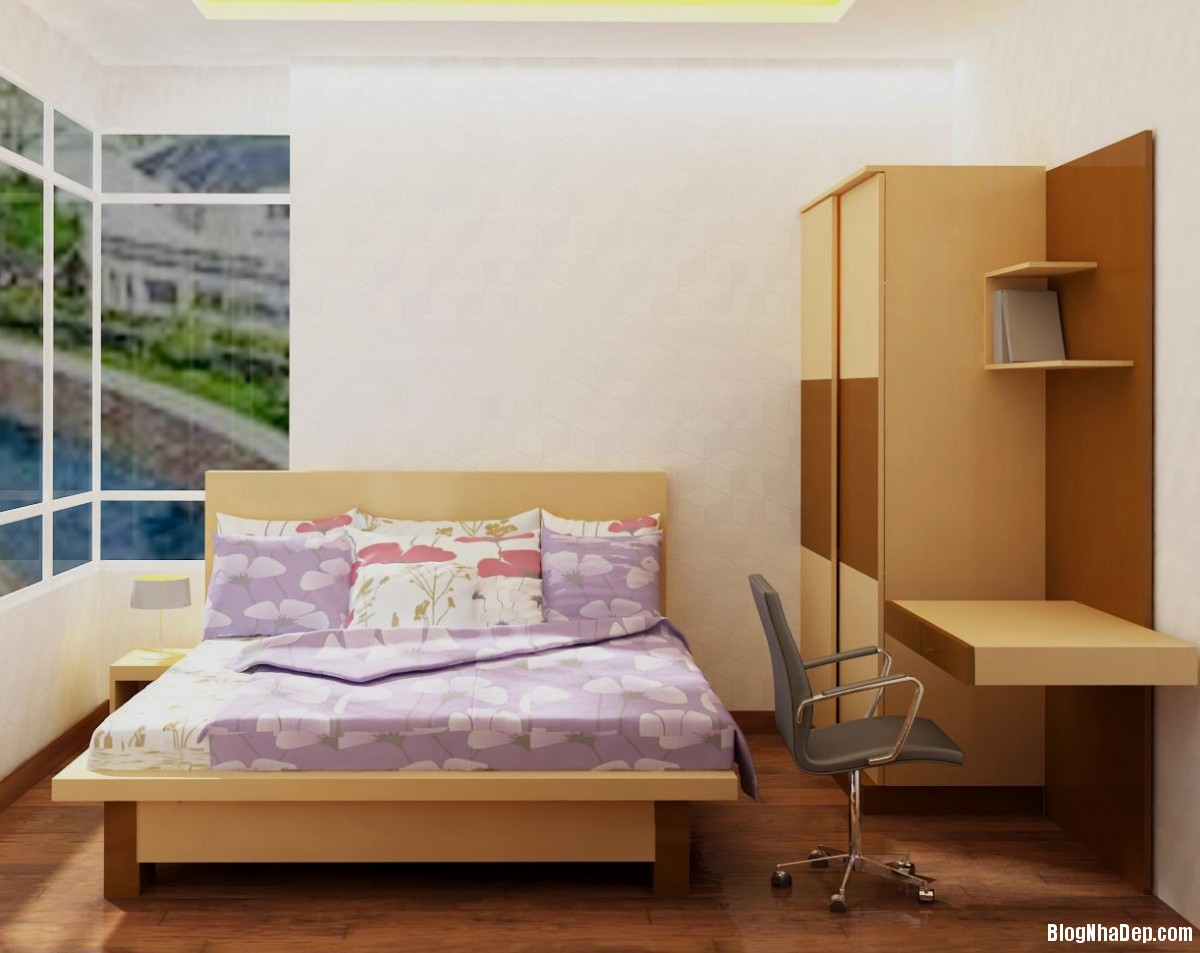 trang tri phong ngu nho 071 Trang trí nội thất cho phòng ngủ nhỏ