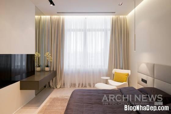 Hình 9 Phòng ngủ đơn giản hiện đại Căn hộ cao cấp theo phong cách tối giản ở Nga