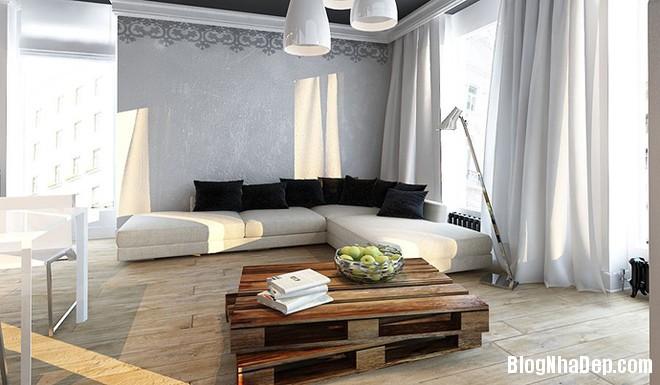 can ho 50 m2 voi hai tong mau den trang 2 Căn nhà ấm cúng ở Ba Lan