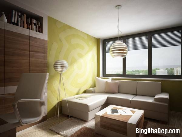 hinh 11 phong lam viec co sofa de thu gian Mẫu căn hộ chung cư đẹp ở Slovakia