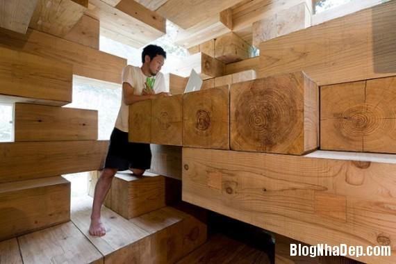 """kientrucnhadep nha go 05 Cùng ngắm mẫu nhà gỗ """"Final Wooden House"""" của kiến trúc sư Sou Fujimoto"""