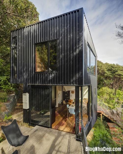 nha khong gian mo thoang 1 Căn nhà với hình dáng giống chiếc container ở New Zeeland