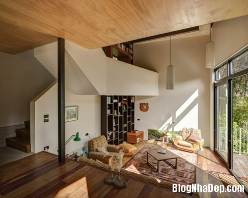 nha khong gian mo thoang 3 Căn nhà với hình dáng giống chiếc container ở New Zeeland