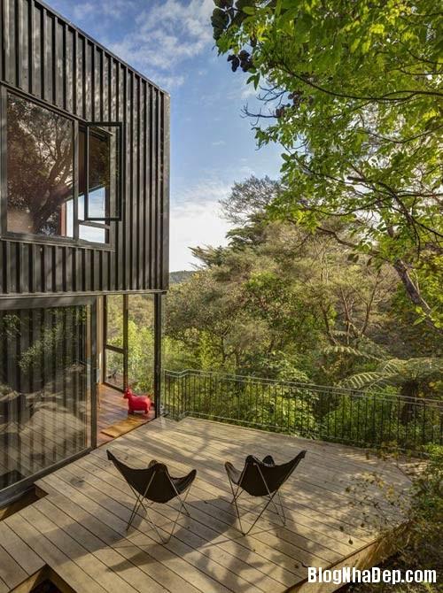nha khong gian mo thoang 7 Căn nhà với hình dáng giống chiếc container ở New Zeeland