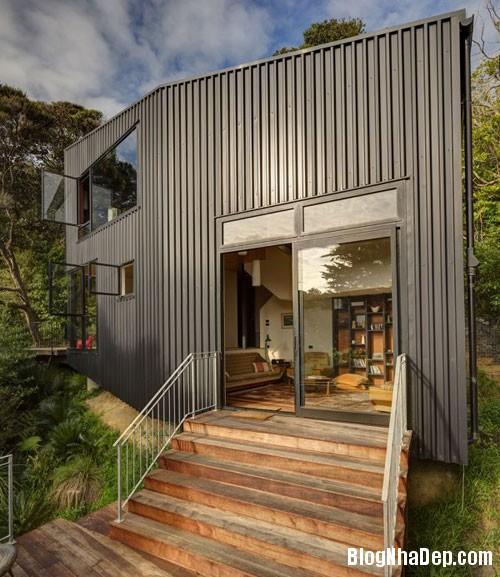 nha khong gian mo thoang 8 Căn nhà với hình dáng giống chiếc container ở New Zeeland