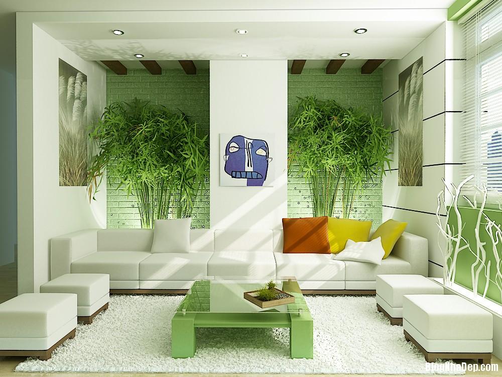 phong khach voi mau xanh va trang hoa minh vao thien nhien Tham khảo những kinh nghiệm bố trí phòng khách
