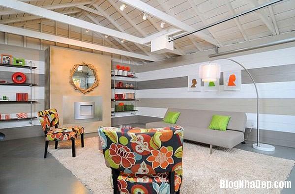 stripes living room Thiết kế phòng ấn tượng với họa tiết kẻ sọc